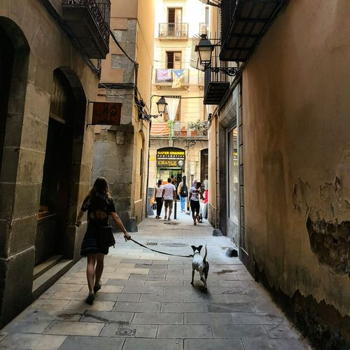 Barcelona City Full Length Men Women Walking Old Town Architecture Built Structure Narrow Alley Walkway Historic