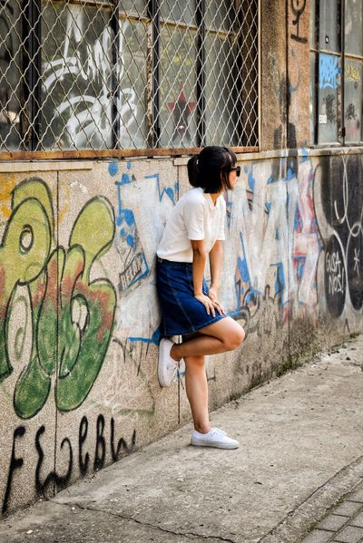 798 District Chinese Girl Fashion Shoot Adolescence  Adult Casual Clothing City City Life Cool Attitude Day Dirty Fashion Full Length Graffiti Individuality Lifestyles One Person Outdoors People Spray Paint Street Art Teenager Young Adult Youth Culture Be. Ready.