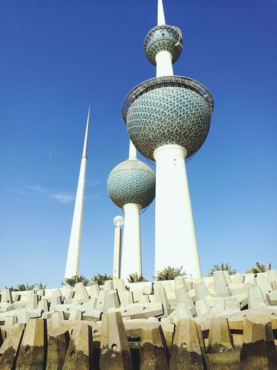 Low Angle View No People Sky Nature Outdoors Scenics Concretewalls Looking At Camera Kuwait Towers Landmark Tower Clear Sky Standing Still no people