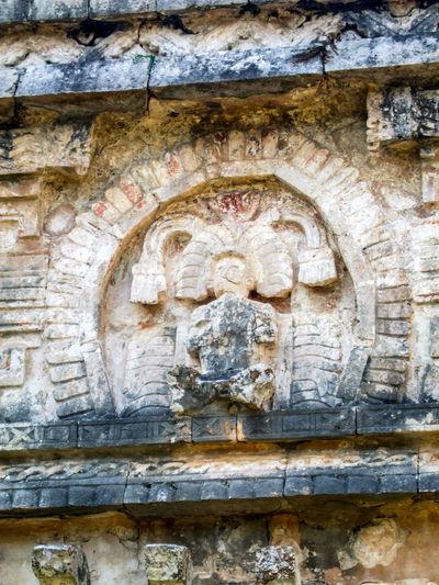 Ancient Archaeological Sites Chichen Itza Façade History Human Representation Mayan Mayan Ruins Mayan Wonders Old Quetzalcoatl Stone Material The Past Wall - Building Feature Weathered Yucatan Mexico Yucatan Peninsula Yúcatan