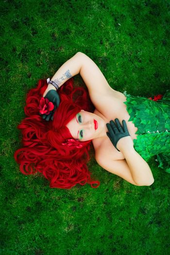 Showcase: December DC Comics Batman Villain Poison Ivy Portrait Red Lipstick Cosplay Shoot Mcm Expo Beautiful Girl Cosplay Grass Pretty