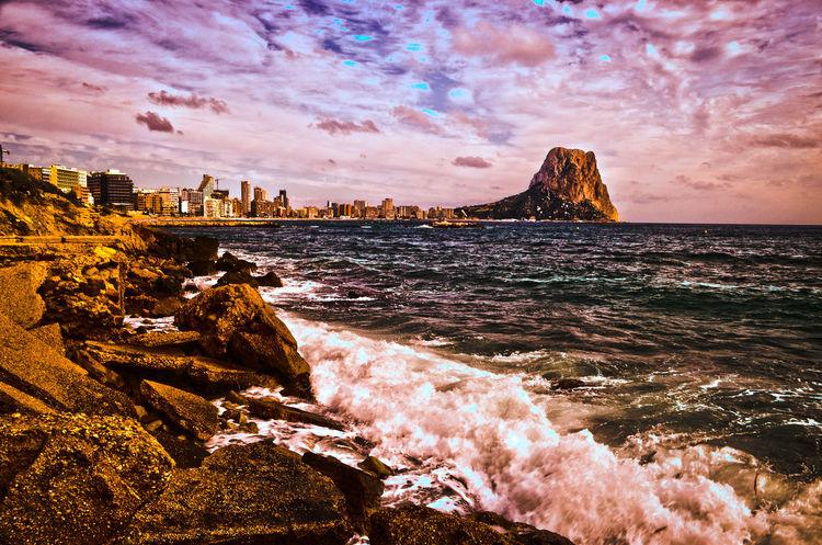 Cala Manzanera Calpe Alicante España Coastline Horizon Over Water Majestic Ocean Outdoors Peñon Ifach Power In Nature Scenics Sea Sky Water Wave