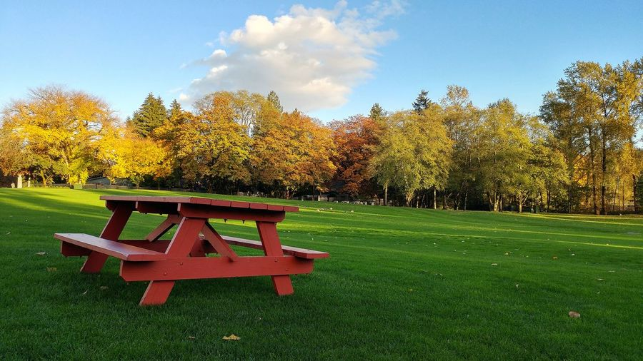 Park bench on field against sky during autumn