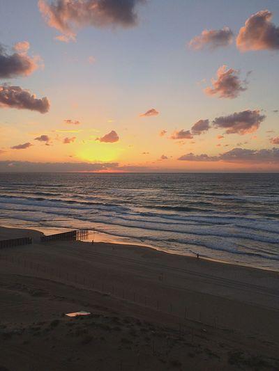 Israel Bat Yam Sea Land Sunset Sky Water Beach Scenics - Nature