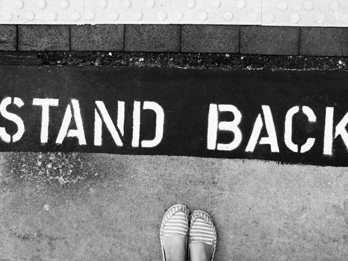 Stand Back Shoe Shot Trainstation Blackandwhite