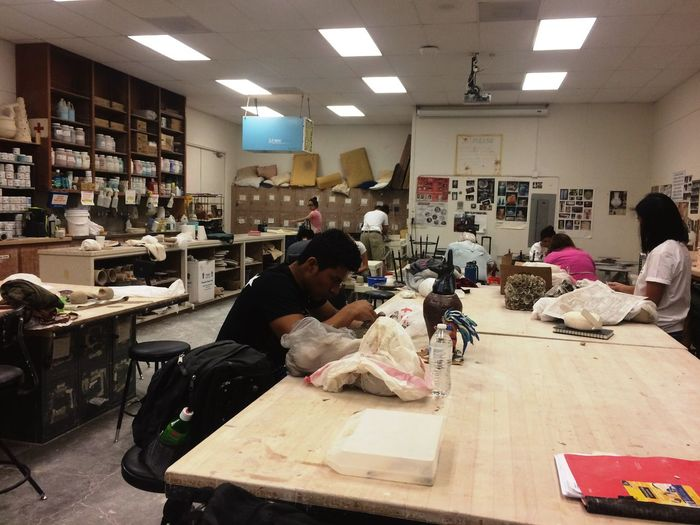 Indoors  Real People Class College College Life School Art Ceramics Community College Jr. College Day Clay Beginners