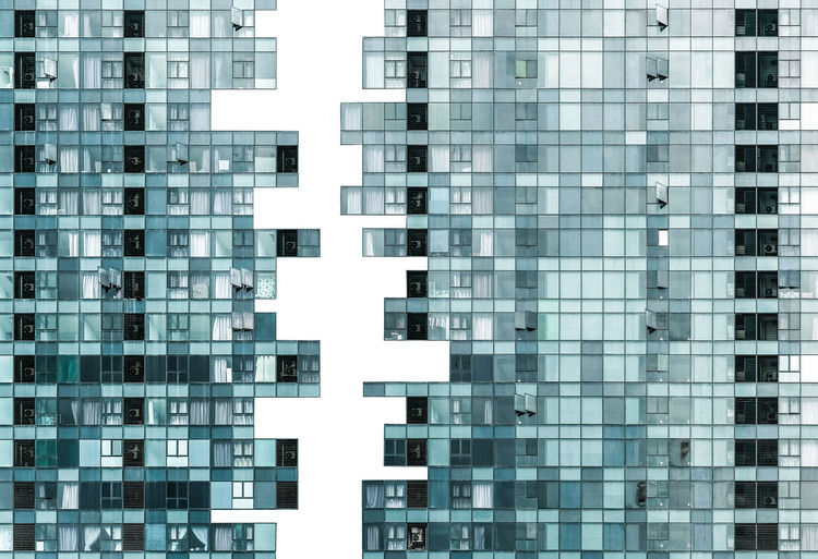 Business Pattern Glass - Material Modern City Property Market Recession Economy Downturn Split Morgage Apartment Finance Breaking Up Bubble Economy Architecture Abstract Divided Loan  High Density Window No People Jigsaw  Complicated