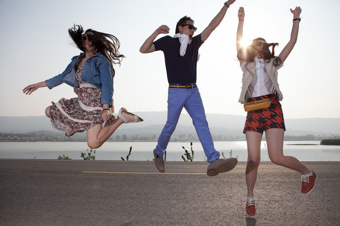 Adult Beach Carefree Celebration Day Friendship Full Length Fun Happiness Jump Jumper Jumping Lifestyles Motion Outdoors People Summer Togetherness Women Young Adult Young Women