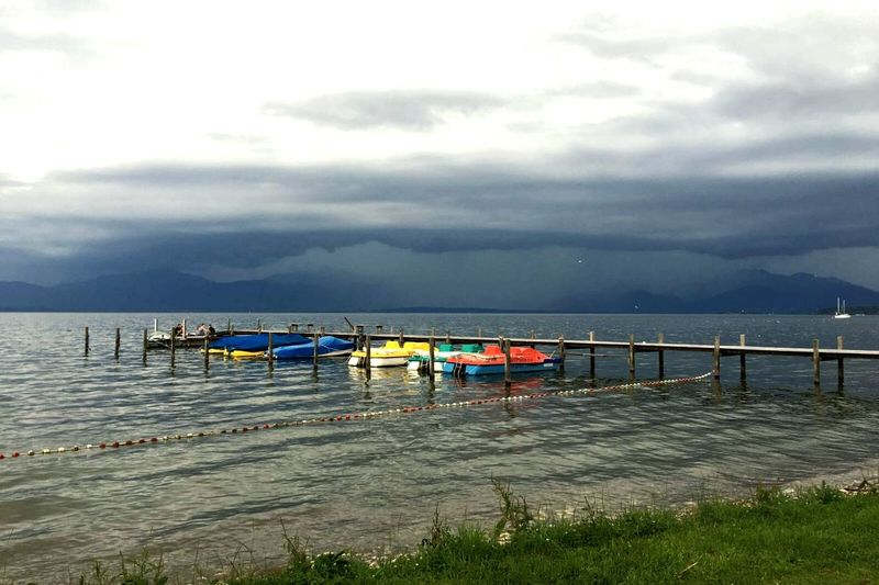 Silence Before The Storm Thunderstorm Camping Lake View Lake Lakeside Outdoors Scenery Tranquility Grey Sky Clouds Boats Paddle Boats Coloursplash