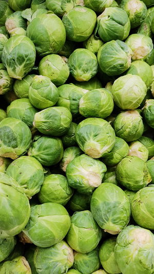 Full Frame Shot Of Brussels Sprout For Sale At Market