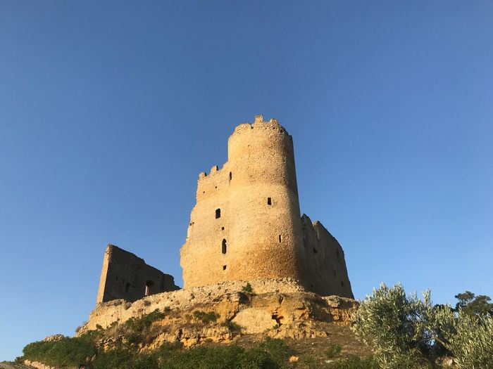 Mazzarino Castle Ruin Castle Sicily Sky Building Exterior Architecture Low Angle View Built Structure History Clear Sky The Past Nature Building Blue Copy Space No People Day Fort Plant Outdoors Old Tower Sunlight
