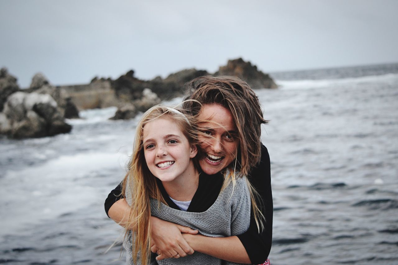water, two people, smiling, portrait, happiness