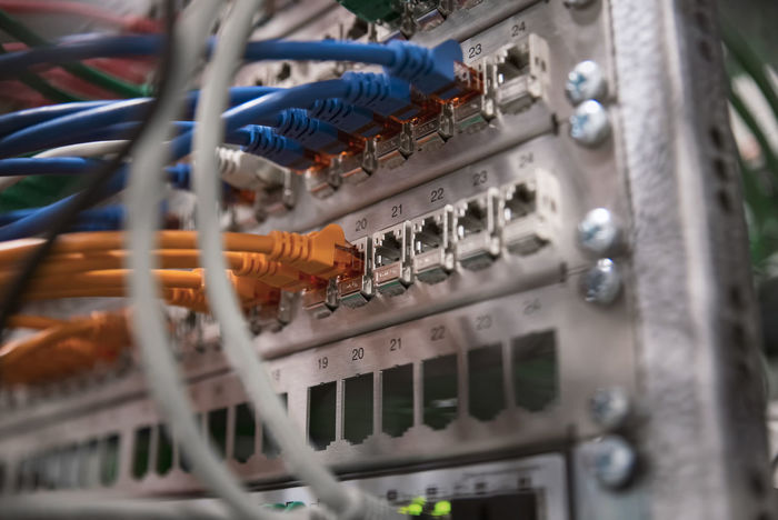 Network Switch with cables RJ45 Security Upload Broadband Cable Cables Communication Computer Computer Cable Computer Network Computer Part Connection Control Panel Download Interface Internet Network Connection Plug Network Server No People Ports Router Switches Technology Telecommunications Equipment Wired