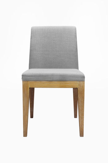 Wooden chairs upholstered in gray Isolated on white background with clipping path. Chair White Isolated Background Furniture Seat Classic Wooden Style Upholstered Design Leather Decoration Luxury Old Color Elégance Wood Antique Vintage Retro Carved Modern Fashion Decor Single Object Interior Home