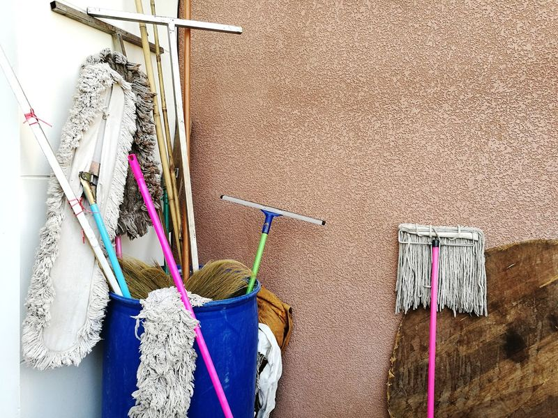 Colors Swab Mops Wall Background Cleaning Hanging Cleaning Equipment Architecture Building Exterior Built Structure