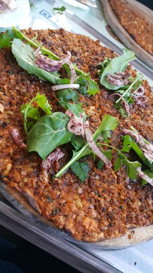 Awesome Delicious Food Lahmacun Leaf Vegetable Meat Onion Roka Spicy Turkish Pizza Yummy