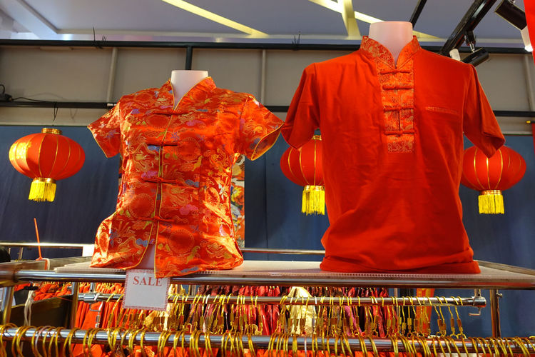 Traditional chinese clothes for sale in market