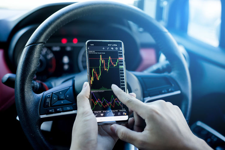 Close-up of hand holding smart phone in car