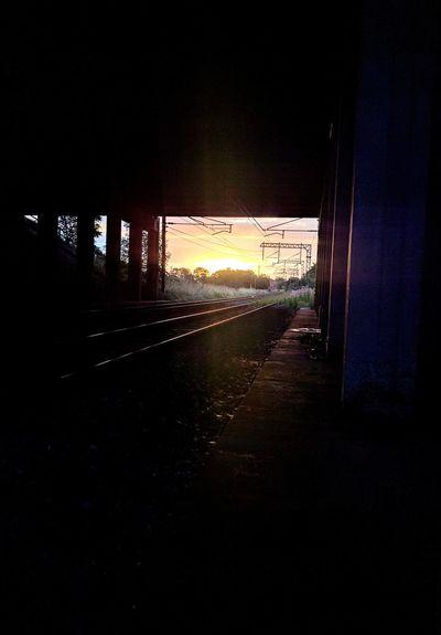 Tracks Sunset No People Sky Train Bridge