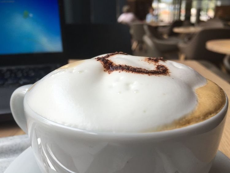 Cappuccino at work... Food And Drink Close-up Cup Coffee Cup Frothy Drink Cafe Indulgence Temptation Laptop Cappuccino Break