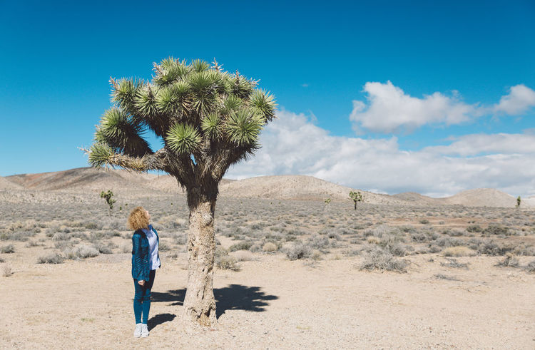 Arid Climate Arid Landscape Blue Casual Clothing Childhood Curly Hair Day Death Valley Death Valley National Park Desert Desert Full Length Girl Joshua Tree Landscape Mountains Nature Nature One Person Outdoors Rear View Roadtrip Sand Sky Standing