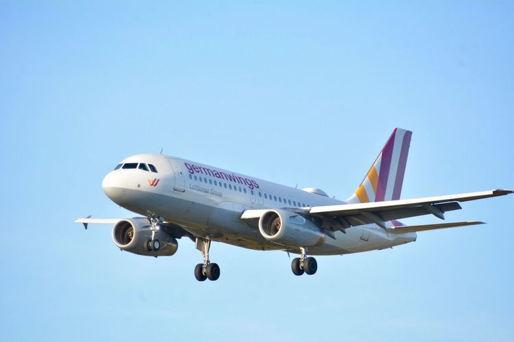Planespotting Germanwings Air Vehicle Airplane Mode Of Transportation Transportation Sky Clear Sky Flying Travel Commercial Airplane Blue Airport Mid-air Nature Copy Space No People Day Motion Journey on the move Outdoors