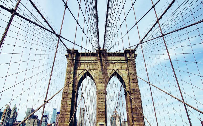 Built Structure Architecture Bridge Bridge - Man Made Structure Low Angle View Building Exterior Day City Arch Cable-stayed Bridge Brooklyn Brooklyn Bridge / New York Manhattan Transportation Suspension Bridge Engineering