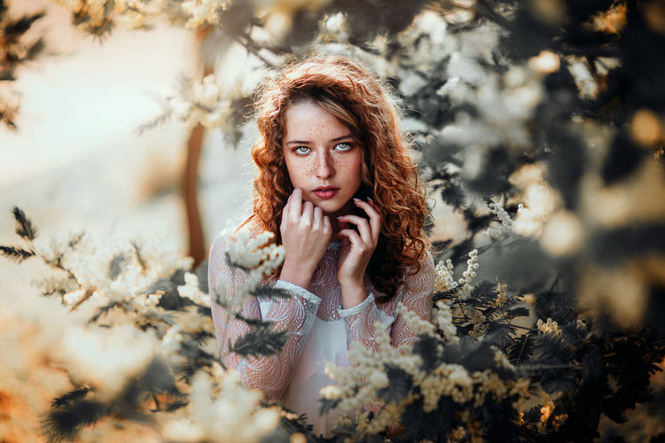 """I will be light"" Portrait Beautiful People Beauty Women Looking At Camera Yellow Flower Ginger Nature Girls Light Beautiful Forest Story Conceptual The Portraitist - 2016 EyeEm Awards"