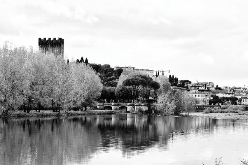 View Over River Arno Monochrome Black And White Black & White Florence Italy Italy Firenze The Best City In The World River Arno City View  Landscape Water Reflection Outdoors No People Day Lake Sky Tree Architecture Building Exterior
