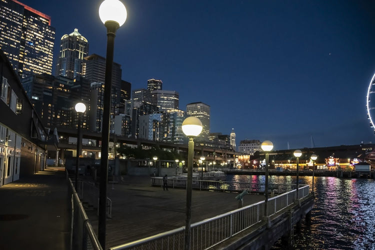 Night view of the Seattle skyline from the Waterfront Pier. Illuminated Built Structure Architecture Building Exterior Sky Street Lighting Equipment Water Street Light Night City Nature Railing Dusk River Building No People Glowing Outdoors Light Office Building Exterior Skyscraper Skyline Puget Sound Elliott Bay Growth Alaska Way Viaduct Glass - Material Leading Lines Copy Space Ferris Wheel Tourist Attraction  Photographer