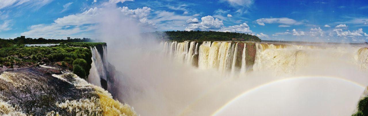Iguazu Falls Falls Cloud - Sky Sky Day Travel Outdoors Tourism Nature Beauty In Nature Panoramique