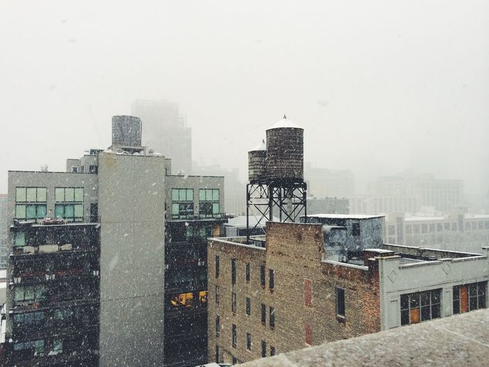 New York City New York NYC Snow Winter Watertower Water Tower Skyline Rooftop Rooftops Sky City Cityscape Snowing Chelsea