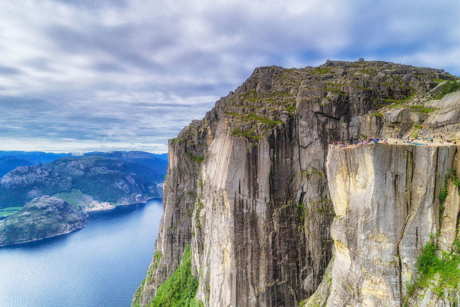 Drone  Norge Norway Norwegen Preikestolen Beauty In Nature Cliff Cloud - Sky Day Eroded Formation Idyllic Mountain Mountain Range Nature No People Non-urban Scene Outdoors Rock Rock - Object Rock Formation Scenics - Nature Sky Travel Water Go Higher