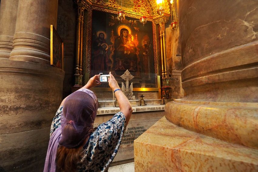 Piligrim Church Icon Israel Piligrim Jerusalem Religion Wireless Technology Photography Themes Photographing Smart Phone Portable Information Device One Person Indoors