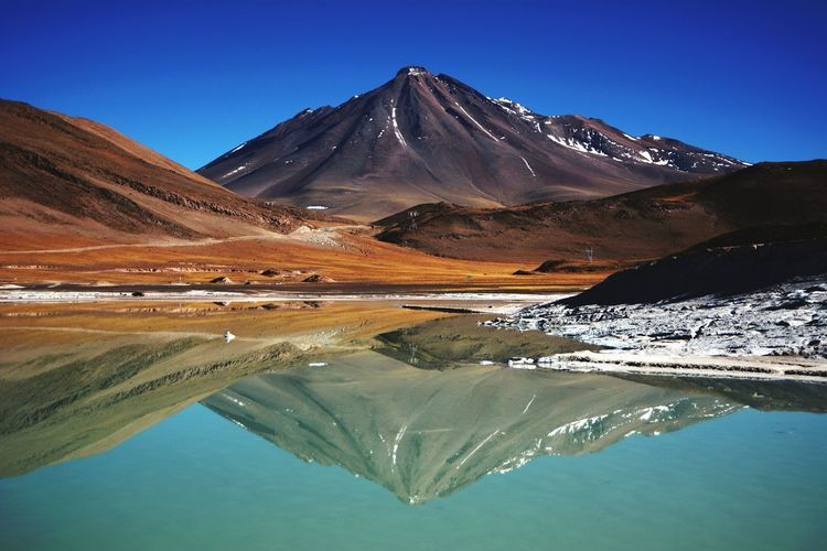 Deserto do Atacama Clear Sky Water Reflection Mountain Tranquil Scene Scenics Tranquility Landscape Beauty In Nature Lake Calm Idyllic Blue Nature Majestic Remote Mountain Peak Sunny Non-urban Scene Standing Water Atacama Desert Piedras Rojas Vulcan Vulcao First Eyeem Photo