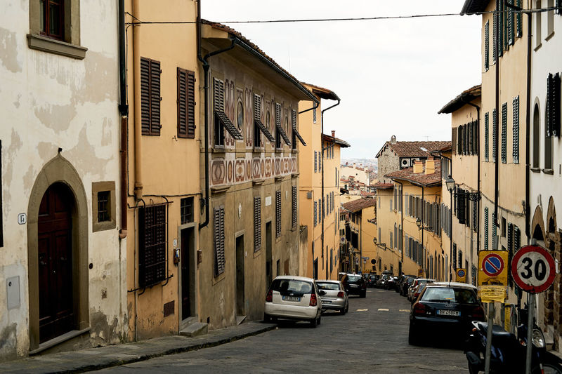 Florence, Italy. Mode Of Transportation Architecture Building Exterior Built Structure Car City Transportation Land Vehicle Street Building Residential District Day Road Sky No People Nature Stationary Outdoors Sloping Road