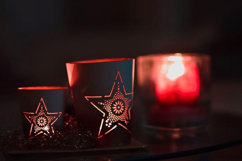 christmas candle Star Candle Christmas Christmas Decoration Celebration Indoors  Christmas Ornament Close-up Illuminated Focus On Foreground Christmas Lights Red