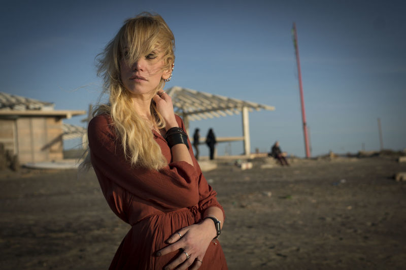 beauty on the beach Adult Adults Only Beach Blond Hair Blue Sky Day One Person One Woman Only One Young Woman Only Only Women Outdoors People Portrait Sand Sky Winter Women Fashion Fashion Photography The Fashion Photographer - 2018 EyeEm Awards The Portraitist - 2018 EyeEm Awards
