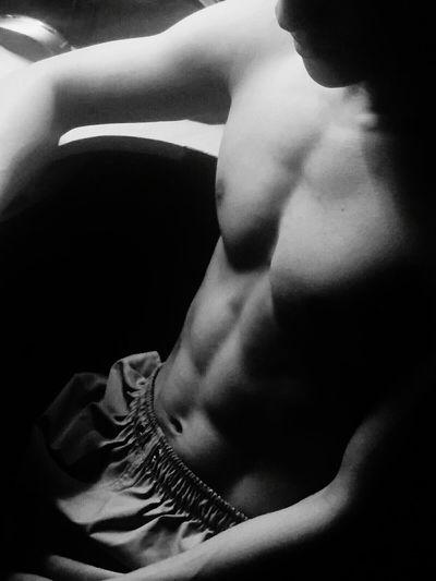Black Background Abdomen Human Back Young Women Shirtless Back Muscular Build Beautiful Woman Close-up