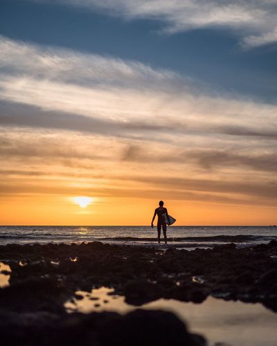 Surfer Surfer Surf Sunset Sea Beach Sky Nature Beauty In Nature Horizon Over Water One Person Silhouette