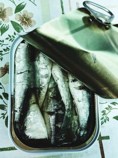 Fish in a can. Indoors  No People Close-up Day Paper Freshness