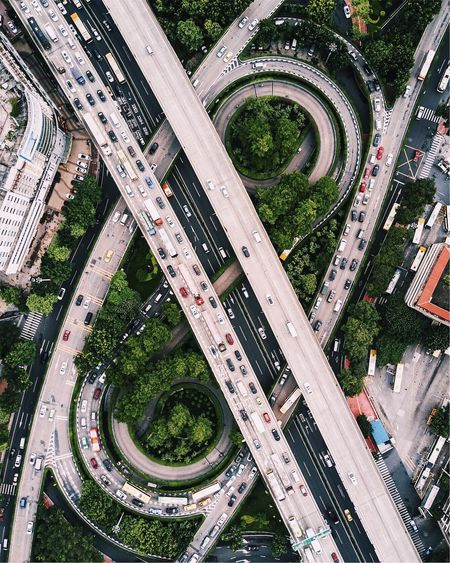 EyeEmNewHere Transportation Aerial View Overpass Architecture City Elevated Road Road High Angle View Bridge - Man Made Structure Mode Of Transport Built Structure Road Intersection Connection Building Exterior Street Car Outdoors Modern Curve