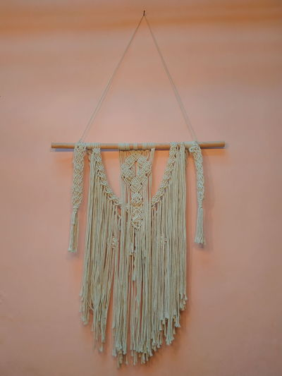 macrame wall hanging Close-up Geometric Shape Hanging Tassel DIY Renovation Wooden Hexagon
