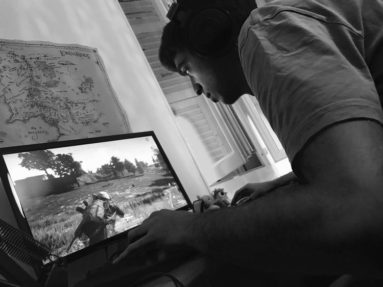Serious focus. Serious gaming Real People Close-up Focus Gaming PUBG Game