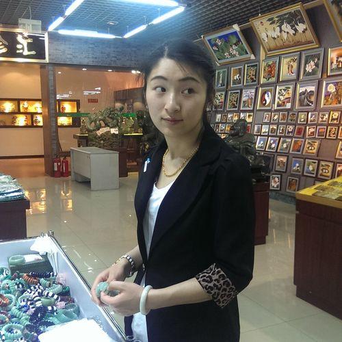 Chinese Girl selling jade