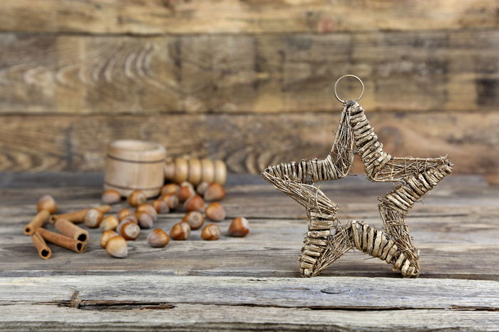 Art And Craft Background Celebration Christmas Christmastime Close-up Creativity Day Decoration Homemade No People Nut Cracker Nuts Outdoors Photography Planks Postcard Star Symmetry Table Textured  Vintage Winter Wood Handmade For You