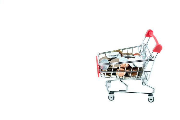 Buying Consumerism Copy Space Customer  Groceries Red Retail  Shopping Basket Shopping Cart Studio Shot Supermarket Trolley White Background