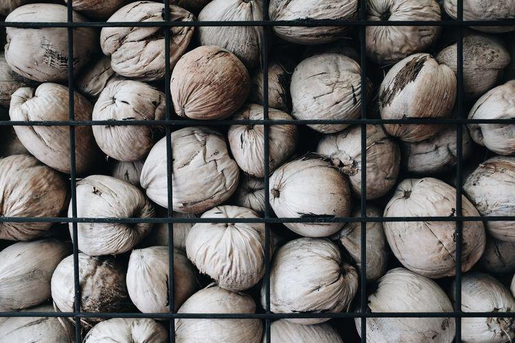 Full frame shot of bread for sale at market