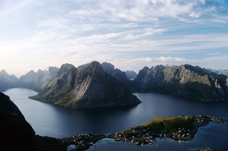 Scenic view of lofoten with mountains against sky