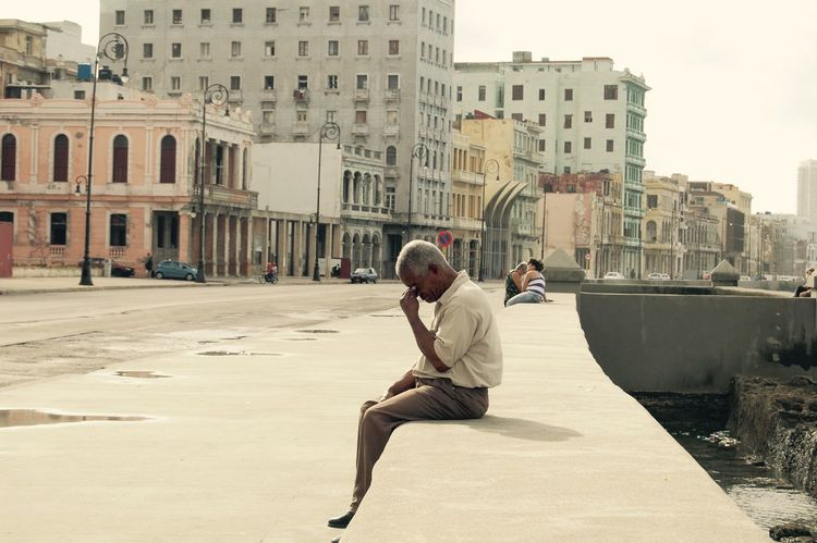 Architecture Building Exterior City City Life Cuba Cuban Havanna Life Lifestyles Malecon Man Men Old But Awesome Older Man Real People Sadness Showcase: January Street Tired Travel Photography Travelling Travelphotography